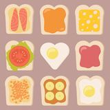 Vector set of different types of toasts. Illustration Royalty Free Stock Images