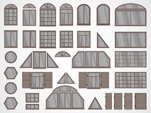 Vector set of different windows and shutters. Stock Photos