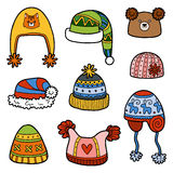 Vector set of different winter hats with animals  Stock Photography