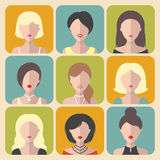 Vector set of different women app icons in flat style. Vector set of different women app icons in flat style Royalty Free Stock Photo