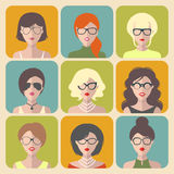 Vector set of different women app icons in glasses in flat style. Royalty Free Stock Images