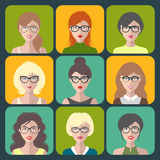 Vector set of different women app icons in glasses in flat style. Female faces or heads collection. Stock Image