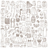 Vector set of different women clothes and accessories Stock Images