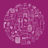 Vector set of different women clothes and accessories Stock Photo
