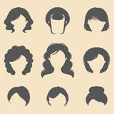 Vector set of different women fancy haircuts icons in trendy flat style. Female faces icons. Stock Image