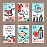 Vector set of discount coupons for baby goods. Colorful doodle style voucher templates. Baby accessories and clothes Stock Image