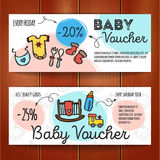 Vector set of discount coupons for baby goods. Colorful doodle voucher templates. Newborn accessories and clothes promo Royalty Free Stock Photo