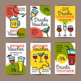 Vector set of discount coupons for beverages. Colorful doodle style alcohol drinks voucher templates. Cocktail bar promo Royalty Free Stock Photos