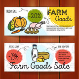 Vector set of discount coupons for farm food. Royalty Free Stock Photography
