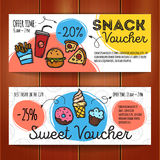 Vector set of discount coupons for fast food and desserts. Colorful doodle style voucher templates. Snack promo offer Royalty Free Stock Image