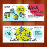Vector set of discount coupons for sport accessories. Colorful doodle style voucher templates. Gym and fitness equipment Stock Photography