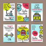 Vector set of discount coupons for sport accessories. Colorful doodle style voucher templates. Gym and fitness equipment Royalty Free Stock Image