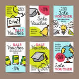 Vector set of discount coupons for stationary accessories. Colorful doodle style voucher templates. Back to school promo Stock Photography