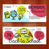 Vector set of discount coupons for stationary accessories. Colorful doodle style voucher templates. Back to school promo Stock Image