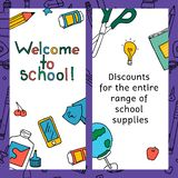 Vector set of discount coupons for stationery accessories. The school draws icons and symbols. vector illustration