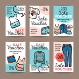 Vector set of discount coupons for woman clothes and accessories. Colorful doodle style voucher templates. Fashion store Stock Images