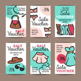 Vector set of discount coupons for woman clothes, underwear and accessories. Colorful doodle style voucher templates Stock Photo