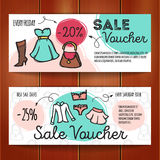 Vector set of discount coupons for woman clothes, underwear and accessories. Colorful doodle style voucher templates Royalty Free Stock Photos
