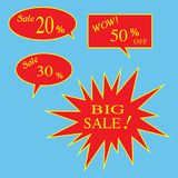 Vector set of discount 20, 30, 50 percent off Label. Sale  20%,. 30%, 50% and BIG Sale Off Red Label Royalty Free Stock Photo
