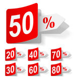 Vector set of discounts Stock Images