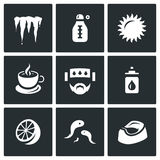 Vector Set of Disease Icons. Cooling, Temperature, Heat, Medicine, Headache, Nasal drop, Lemon, Leeches, Diarrhea. Stock Images