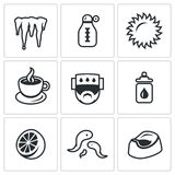 Vector Set of Disease Icons. Icicle, Thermometer, Sun, Tea Patient Prevention Citrus Bloodsucker Toilet pot Stock Photography