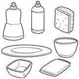 Vector set of dish washing equipment. Hand drawn cartoon, doodle illustration Royalty Free Stock Photo