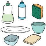 Vector set of dish washing equipment. Hand drawn cartoon, doodle illustration Royalty Free Stock Photography