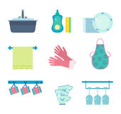 Vector set of dishwashing elements. Dishwashing elements: kitchen sink with tap and foam, dishwashing detergent and sponge, pile of clean plates, dish towel Royalty Free Stock Image