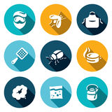 Vector Set of Disinfection Icons. Man, fly, apron, fly swatter, bug, trap, smoke, poison sprayer. Stock Images