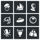 Vector Set of Diving Icons. Diver, Ship, Wetsuit, Mask, Submarine, Radar, Octopus, Amphora, Flippers. Stock Photography