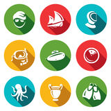 Vector Set of Diving Icons. Diver, Ship, Wetsuit, Mask, Submarine, Radar, Octopus, Amphora, Flippers. Stock Photo
