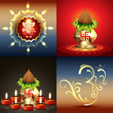 Vector set of diwali background with lord ganesha Royalty Free Stock Photo
