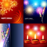 Vector set of diwali holiday background. With fireworks and diya Stock Photo