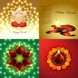 Vector set of diwali holiday background royalty free illustration