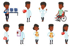 Vector set of doctor characters and patients. Royalty Free Stock Photos