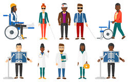 Vector set of doctor characters and patients. Stock Photo