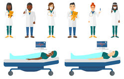 Vector set of doctor characters and patients. Royalty Free Stock Photography
