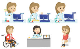 Vector set of doctor characters and patients. Royalty Free Stock Photo