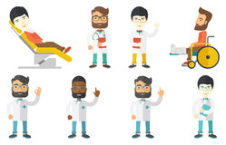 Vector set of doctor characters and patients. Royalty Free Stock Images