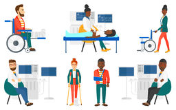Vector set of doctor characters and patients. Stock Photos
