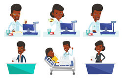 Vector set of doctor and media characters. Royalty Free Stock Images