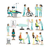Vector set of doctors and patients characters on white background. People in hospital. Medical check up, surgery stock illustration