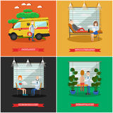 Vector set of doctors posters in flat style Stock Photography