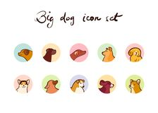 Vector set of dog icons in cartoon style. Isolated on white background Stock Photo