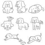 Vector set of dog, labrador retriever. Hand drawn cartoon, doodle illustration Royalty Free Stock Photo