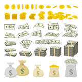 Vector set of dollar sign money and gold coins Royalty Free Stock Photography