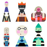 Vector set of Dolls from Shapes Abstract Human Symbols Royalty Free Stock Images