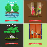 Vector set of dolphinarium and circus show posters, flat style. Vector set of dolphinarium and circus show posters. Swimming, Clowns, Peacock and Dog trainer Royalty Free Stock Photos