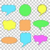 Set of Doodle Blank Bubble Chat and Various Shape, Pastel Colors, Multiple Lines, At Transparent Effect Background. Vector Set of Doodle Blank Bubble Chat and Royalty Free Stock Photos